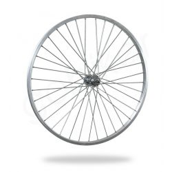 Kerékpár fűzött első kerék 26 MTB (559) alu felni ezüst, acél agy VR