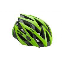 BikeFun Edge felnőtt kerékpáros fejvédő M zöld-karbon mintás
