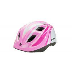 BikeFun Junior gyermek kerékpáros fejvédő pink-fehér S (48-52 cm)