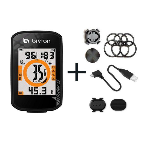 Bryton Rider 15C GPS kerékpár computer szett fekete