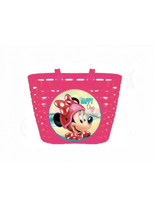 Disney Minnie mintás műanyag kerékpár első kosár pink