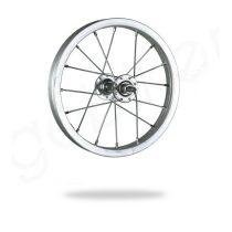 Kerékpár fűzött első kerék 12 BMX (203) alu felni, acél agy ezüst
